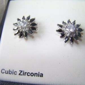 CBC Cubic Zirconia Starburst Pierced Earrings